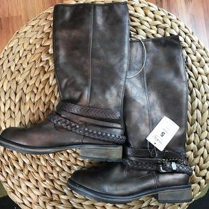 Girls NWT Stevies bronze tall boots size 5